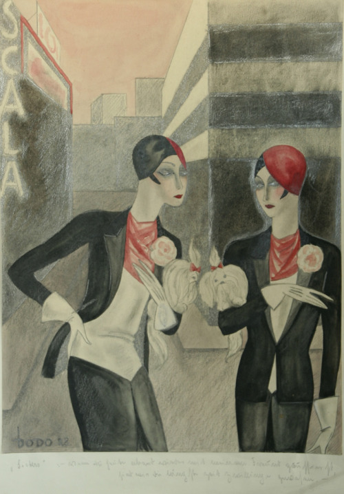 """SIsters"" (1928) by Dodo (aka Dörte Clara Wolff) from the exhibit ""The Inspiration of Decadence"" at Ben Uri: The London Jewish Museum of Art on til September. Art from Berlin in 1920-30s via fuckyeahmodernflapper"