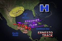 Ernesto Brings Tremendous Flooding Risk  As Ernesto continues to move westward, the weather will go downhill rapidly in Belize and the rest of the Yucatan Peninsula into Tuesday evening.