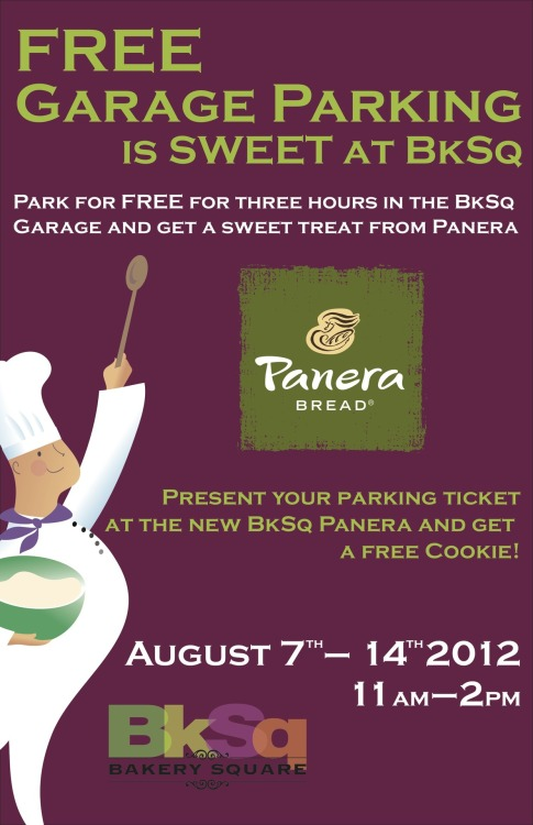 Panera Bread at BkSq is now OPEN! Enjoy the gorgeous outdoor patio and a special cookie promotion to kick-off the first 2 weeks of the opening. Park in the BkSq garage for FREE and present your voucher for a FREE cookie.