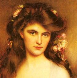 paintingispoetry:  Albert Lynch, A Young beauty with Flowers in her Hair detail, ca. 1880-1912  so lovely.