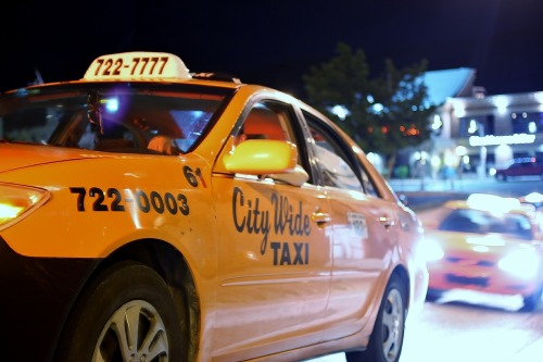 Ready and waiting: Cabs downtown await late night revelers near George Street, St. John's.