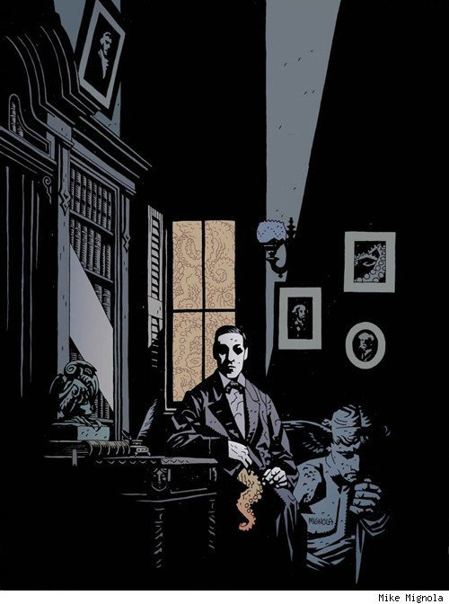 vanity-died-here:  Lovecraft  Art by Mike Mignola Found on: Comics Alliance   MIKE MIGNOLA AND LOVECRACT ADLFKJDASLFJAKJ