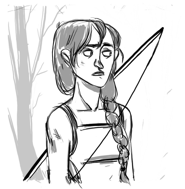Quick Katniss doodle to loosen up the hand this morning.