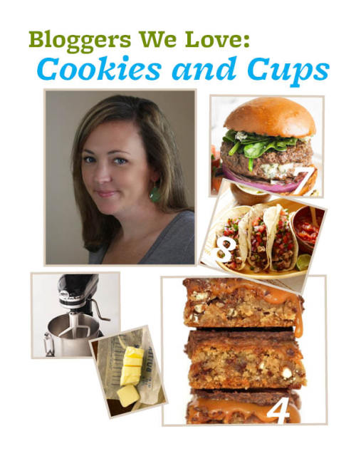 Blogger We Love: Shelly Jaronsky of Cookies and Cups. If you're searching for a delicious treat, look no further than Cookies and Cups. Shelly Jaronsky's sweets-filled blog is packed with tasty bars, brownies, and other dessert recipes that are perfect for any occasion.  1) Favorite ingredient: Is butter too obvious? Honestly, since my focus is baking I have an unusual affinity for sweetened condensed milk at the moment!  2) Must-have kitchen accessory: My Kitchenaid mixer. Couldn't. Live. Without. It.  3) Biggest Cooking Inspiration: My grandma. She taught me how to cook!  4) Dish you're most proud of: That's like choosing a child! But I am still in love with these Chubby Hubby bars I made about a year ago!  5) Salty or sweet: Both. Combined.  6) Favorite person to cook for: My family… they are my favorite people.  7) Recipe You'd Recommend: I am currently obsessed with these Blue Cheese Stuffed Burgers!  8) Your go-to dinner dish: Tacos. They are so adaptable and easy. We make so many variations on tacos at my house!