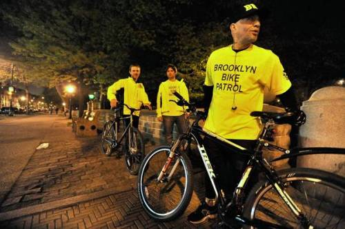 Brooklyn Bike Patrol on a roll after attacks on women: A volunteer escort home from the subway along dark streets is a phone call away — no charge, no tips. Business is brisk.  On Halloween, Ruiz escorted two women — one dressed as a box of cookies, the other as a milk carton — who felt vulnerable because their costumes limited their arm movements. Many of his regulars, who are listed in his phone by their first names and their usual subway stations, are waitresses who work late and who don't want to spend $20 or so for a cab ride home.  Nice job, Brooklyn. Photo: Brooklyn Bike Patrol volunteers, from left, Ryan Finger, Timothy Wright-Bodine and Jay Ruiz prepare for a Friday night of providing safe escorts home from subway stations. Credit: Aaron Showalter, New York Daily News