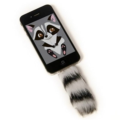 "iFAUXNE ""Some items just make my heart laugh, like this faux-fur iPhone accessory that comes with a matching character wallpaper. Choose from three animals: fox, racoon and a purple kitty."" - High Snobette via Gama Go via High Snobette via todokawaii"