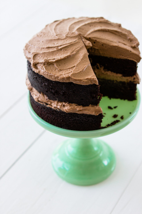 one bowl chocolate cake with whipped chocolate frosting.