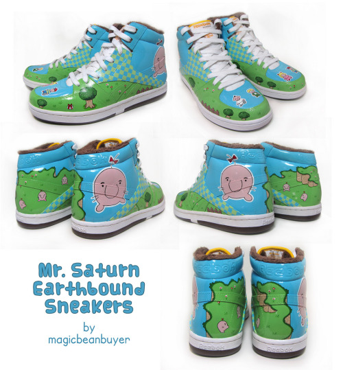 Mr. Saturn Sneakers Any Earthbound fan needs these these custom Reeboks by Magic Bean Buyer. I want to see the entire Fangamer office and Starmen.net staff should be rocking these shoes.  (via albotas)
