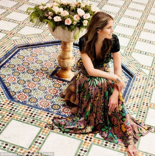 elizabethswardrobe:  Aerin Lauder in Etro and a Pamela Love cuff for Town & Country.