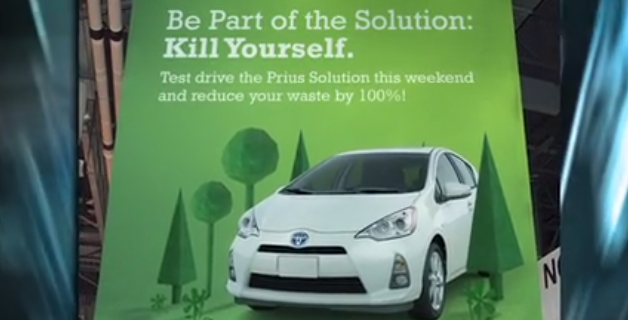 "KILLING MACHINE ""Toyota's new Prius Solution reduces its driver's carbon footprint to zero by impaling them through the lungs with spikes as soon as they get in the car."" - The Onion via Autoblog via The Onion"