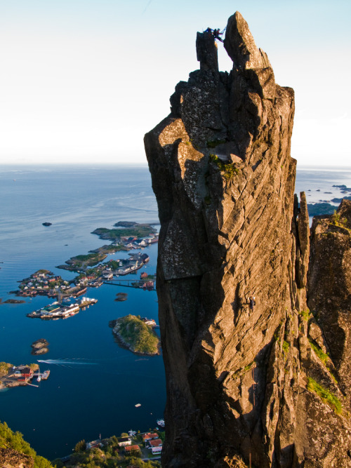 Last light on Svolvaergeita, Svolvaer, Lofoten Islands, Norway