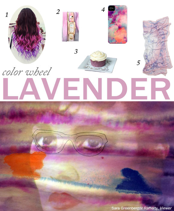 THE COLOR: LAVENDER THE ART: Viewer, 2011 by Sara Greenberger Rafferty FOUND: 1. Purple Haze Manic Panic hair dye found on Pinterest / 2. La Mer Watch found on ShopCuffs / 3. Lavender cupcakes found on Jessie's Kitchen Chronicles / 4. iPhone case found on Society6 / 5. Madam Explorer Scarf found on Anthropologie