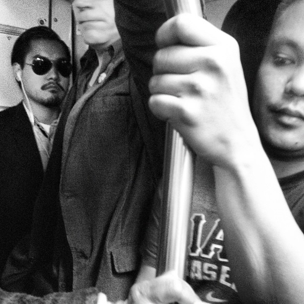 I wear my sunglasses on the M. #sf #muni #passengers #transit #bnw #blackandwhite #sanfrancisco #subway #sunglasses  (Taken with Instagram)