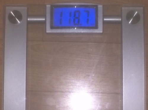 "Today's Weight: 118.7 lbs.Total Lost: 18.9 lbsI had to weigh myself 3 times this morning to make sure the scale wasn't screwing with me. I'm in the TEENS!!!!!!!!!!!!!!!!!! I can't believe it. Every run, step, missed food has been worth it. That quote pops into my head, ""I'm not telling you it's going to be easy. I'm telling you it's going to be worth it."" So true. I DID IT!"