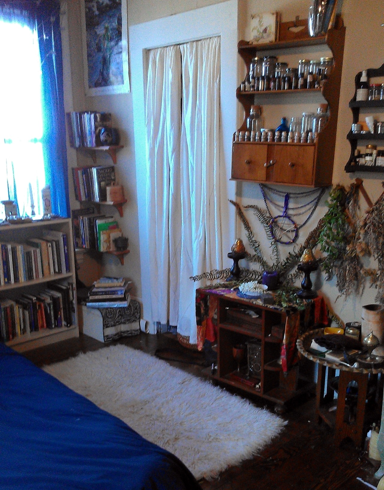 upthewitchypunx:  My side of the room full of books, altars, witchy stuff, and sometimes Jackie cat.