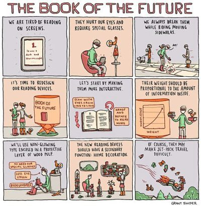 "mcnallyjackson:  Brilliance from Grant Snider, comics artist. theparisreview:  WILLIAM GIBSON ""It's harder to imagine the past that went away than it is to imagine the future."" Image via Strand Books Tumblr"