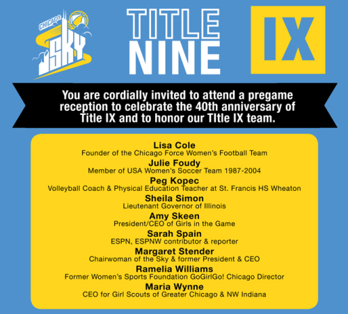 Come celebrate the 40th anniversary of Title IX with the Chicago Sky on August 17th. At 7.30 pm the Chicago Sky will face off against the Atlanta Dream and the game will also feature a special Title IX celebration.  Among many special invited guests and leaders in the field of women and girls and sports, the Through Her Eyes Project is pleased to announce that photographs and videos from the exhibit will be showcased at the game. Click here to purchase tickets for the game or to find more information. We'll see you there. Go Sky!