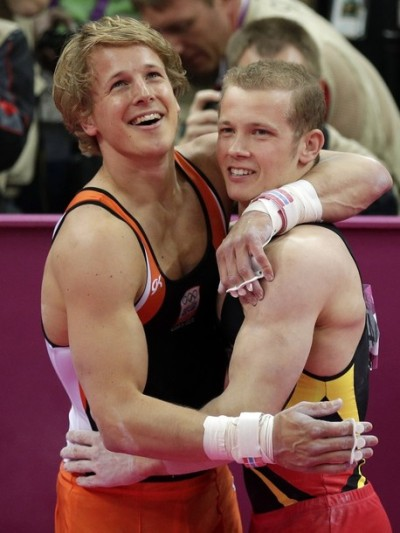 Fabian Hambuchen & Epke Zonderland (via Photo from AP Photo)