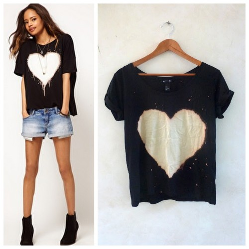 truebluemeandyou:  DIY ASOS Inspired Beached Heart Tee Shirt from Hey! Look What I Made! here. I've posted lots of bleach and dye tutorials, but I really like this knockoff. Left Photo: $29.83 ASOS Top with Bleached Heart here, Right Photo: DIY by Look What I Made. *For more posts about dyeing go here: truebluemeandyou.tumblr.com/tagged/dye. For bleach dyeing go here: truebluemeandyou.tumblr.com/tagged/bleach