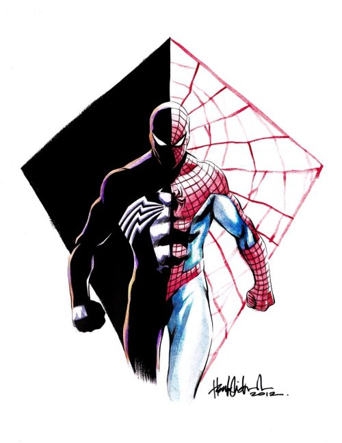 comicsforever:  Spider-Man: Red, Blue & Black // artwork by Michael Heubert (2012)