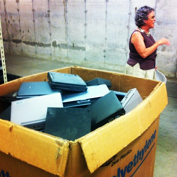 This is one day's haul of laptops from Goodwill Austin (Taken with Instagram at Goodwill Computer Works)
