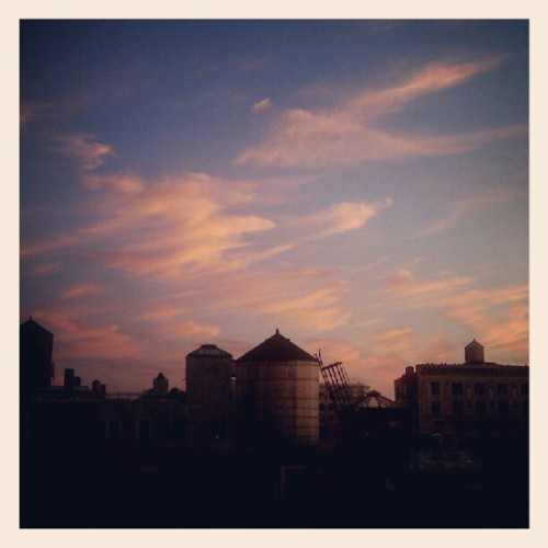 08062012 #View from My #Window // #Sunset #Sky over #NYC #Water Towers // #Columbia #College #Dorm #Beautiful #Clouds  (Taken with Instagram at Schapiro Residence Hall - Columbia University)