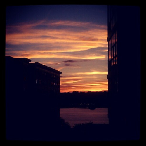 08062012 #View From My #Window // #Beautiful #Sunset #Sky over the distant #Hudson #River // #NYC #Sun #Colors #Lights #Buildings #Columbia #ColumbiaUniversity #College #Dorm (Taken with Instagram at Schapiro Residence Hall - Columbia University)