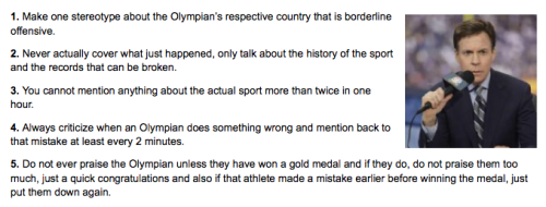 10 Guidelines for Commentators During Olympic Coverage [Click to continue reading] This article originally posted on CollegeHumor 7 hours ago, but we are conveniently bringing this late coverage to you now. We thank you for your patience.