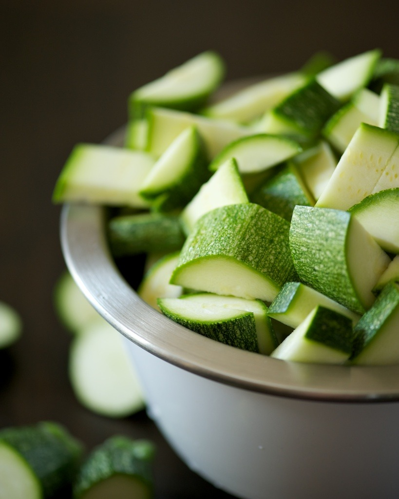 Chopped zucchini pieces