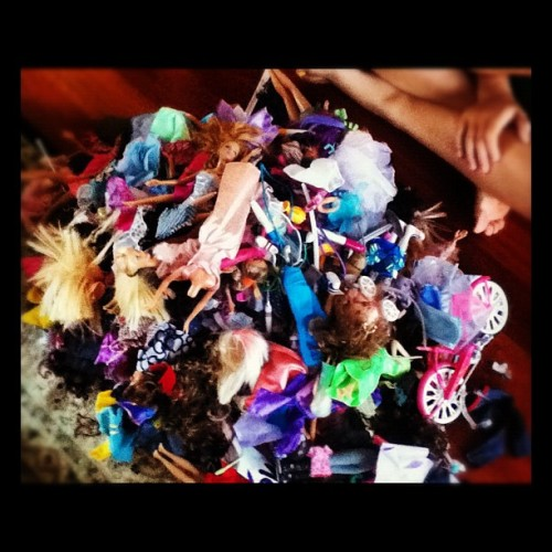 My little sister's Barbie collection we had to sort  (Taken with Instagram)