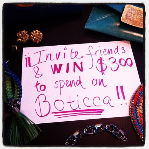 Don't forget that this month, invite your friends & win $300 to spend on Boticca! The person who has invite the most friends who join Boticca wins. Go on, you little devils!  And reblog this post for extra consideration ;-)
