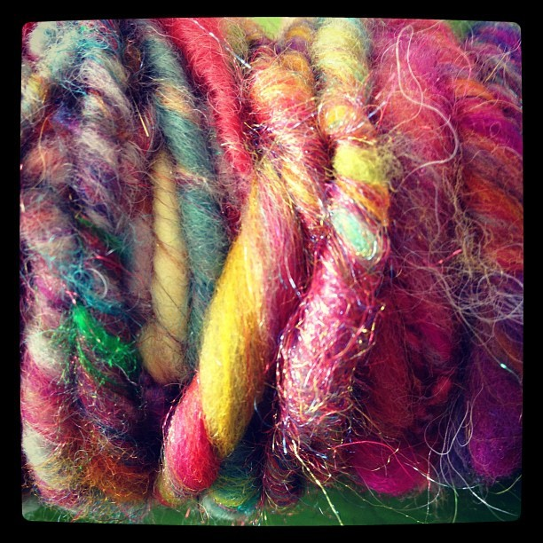 #handspun #colorful #artyarn I just finished for a Joy Shawl. I may be THE clumsiest hand spinner in the world but I'm so addicted to color I keep doing it lol.  (Taken with Instagram)