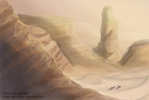 """The Ghosts of the Great Salt Mesas"" Quick speedpainting practice of two Talokun near the Naloth Salt Mesas of planet Syvor.  The salt of the mesas attract certain species of herbivore, such as the Tapok.  This in turn attracts the predatory Talokun to the area. 15 minutes in Sai."