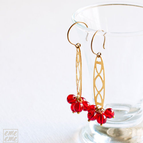 emeeme (via Earrings Vintage raw brass filigree and red glass beads by emeeme)