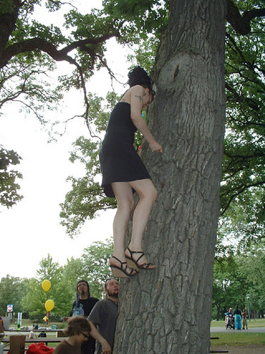 "vnsplshr submitted this photo with the comment ""Angie floats up a tree, at the goth picnic."" What is this wizardry we see before us? How is this possible in those shoes?  My brain says 'no' but my eyes say 'yes', which is usually a good indicator of intervention by photoshop or the ingestion of a lot of vodka. Clearly something is happening up the tree because the supporting cast looks as perplexed as I am.  Also, yellow balloons at a goth picnic?  WHAT IS THIS? I don't even know.  She must have excessively strong toes or shoes or is about to fall out (or it's manipulated). The goth is high up the tree and she's not smiling. It's daylight but it looks like an overcast day, which is perfect for displaying your pale skin.  Bonus points for up-tree floating wizardry (if it isn't 'shopped, if it is then nil points!) and the 'WTF?' looks on the supporting cast's faces. 4.7 out of 5 - I want this to be real. To the polls! Do you think this photo is real (not manipulated)? Update - Our friend vnsplshr swears it's real and has provided the original snap for your evaluation."