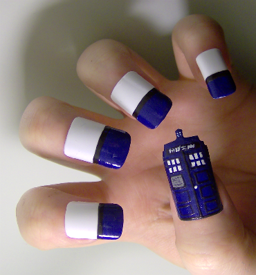 Geek fashion tips: DOCTOR WHO TARDIS NAILS! (via MTV Geek - What's New With Doctor Who: Christmas Villains, Play With Pond, And Nail Art!)