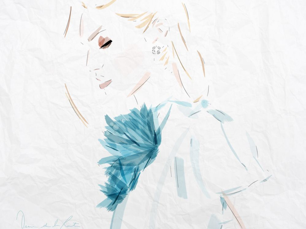 """oscar de la renta, ice blue."" illustration by @tomfordismydad"