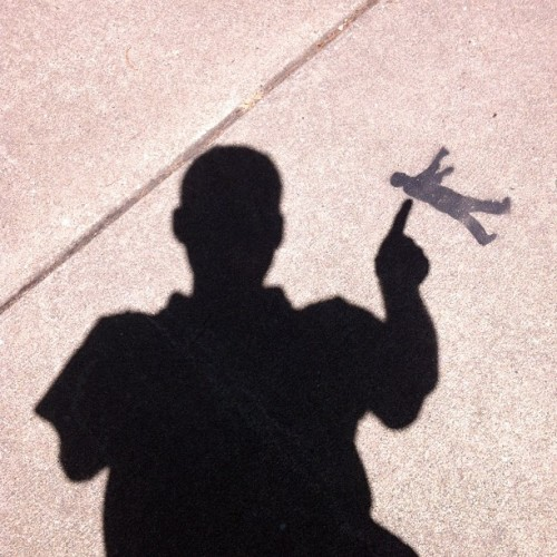 "ShadowMan says: ""Mind the SidewalkStencil Dude!"" (Taken with Instagram)"