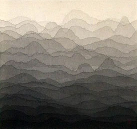 mountain (montagne) 2007 Mixed media on rice paper (inchiostro su carta di riso) 75x80 cm (via Minjung Kim)