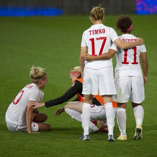 Canada's women's soccer team reacts after losing a heartbreaking loss to USA at the 2012 Summer Olympics in Manchester, England, Sunday August 5, 2012. (Kevin Van Paassen/The Globe and Mail) #london2012 #olympics #soccer #canada  (Taken with Instagram)