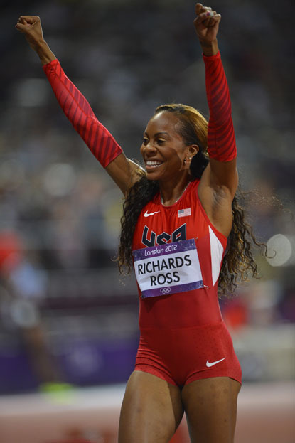 Sanya Richards-Ross of the USA celebrates after winning the gold medal in the women's 400m race at Olympic Stadium during the 2012 Summer Olympic Games in London, England on August 5, 2012.