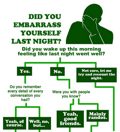 Flowchart: Did You Embarrass Yourself Last Night? [Click to continue reading]