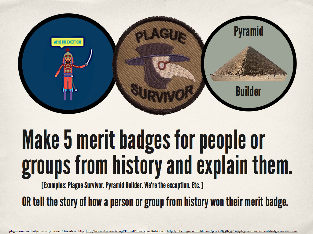 writingprompts:  566 history badges  I really like this idea because there is both an artistic and writing portion.