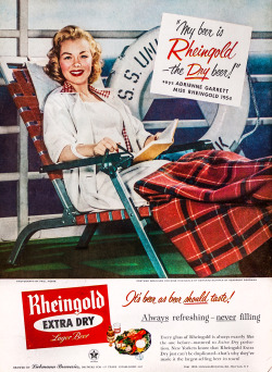 thewayweate:  Rheingold Beer Advertisement - Gourmet: August 1954