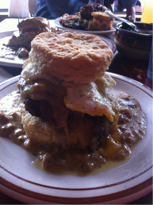 The Reggie deluxe from Pine State Biscuits was the heaviest breakfast I've had in a long time. Biscuit sandwich with fried chicken, bacon, egg, cheese, and gravy.