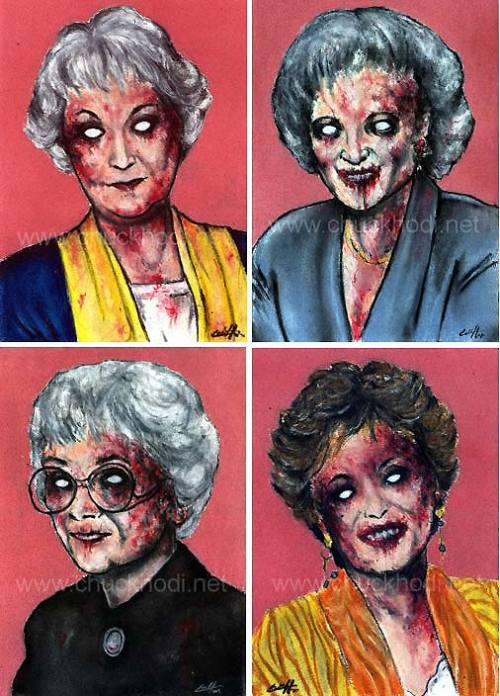 "chuckhodi:  Zombie Golden Girls by Chuck Hodi. Set of 4 (5x7"") prints, signed. $15.00 https://www.etsy.com/listing/54562989/zombie-golden-girls"