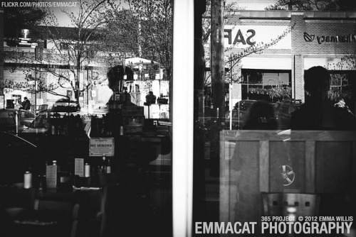 Reflections at Queen Anne Cafe - 127/365 B&W on Flickr.Via Flickr: Sorry I am late on editing and posting these, but I am still taking photos for this project every day! This window had a nifty double reflection effect!