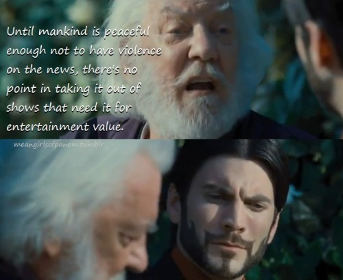 President Snow dishing out some Cher Horowitz wisdom to defend his Games.