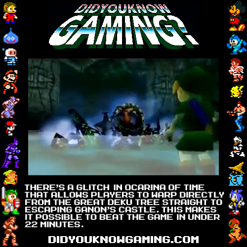 The Legend of Zelda: Ocarina of Time. There wasn't enough room in the image, but the glitch is actually triggered by beating Gohma and dying at the same time. It alters some of the values of the the teleport and doors so that the next room you enter is the beginning of Ganon's castle. A more detailed view and description in the video below. Video: http://www.youtube.com/watch?annotation_id=annotation_124494&feature=iv&src_vid=JbceRzEL3ks&v=PaUCFrW_mEE