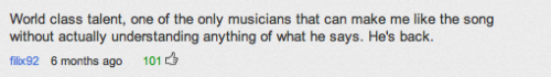 Strong praise from the YouTube community re: Sean Paul's new song.
